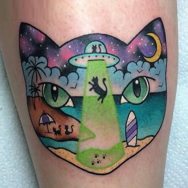 custom green light and blue color ink Tattoo Of Scary Cat Catching Up By Ufo made by expert