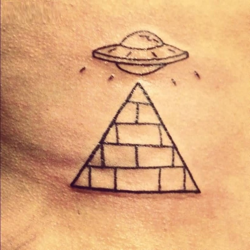 cute black color ink Pyramid And Ufo on boy arm