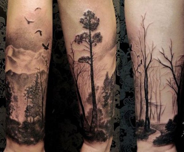 cute forest forearm tattoo on arm With Black ink For Man And Woman