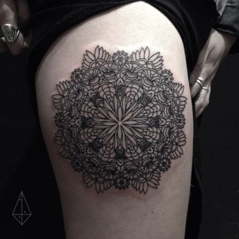 Cute Pattern Tattoo On Bump With Black Ink For Man & Woman
