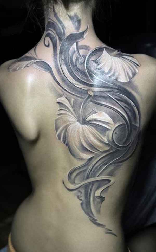 cutest Hibiscus tattoo on back With Black ink For Man And Woman