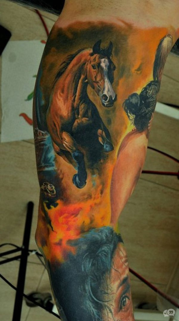Dashing 3D Horse Tattoo On Sleeve On Arm With Colourful Ink For Women And Man
