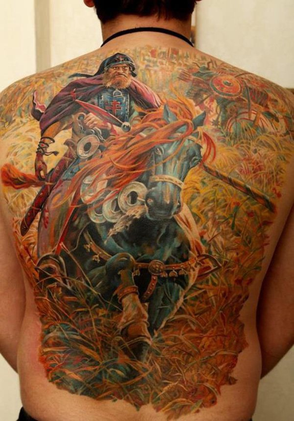 Dashing Colored Warrior With Horse Full Back Tattoo On Back With Colourful Ink For Women And Man