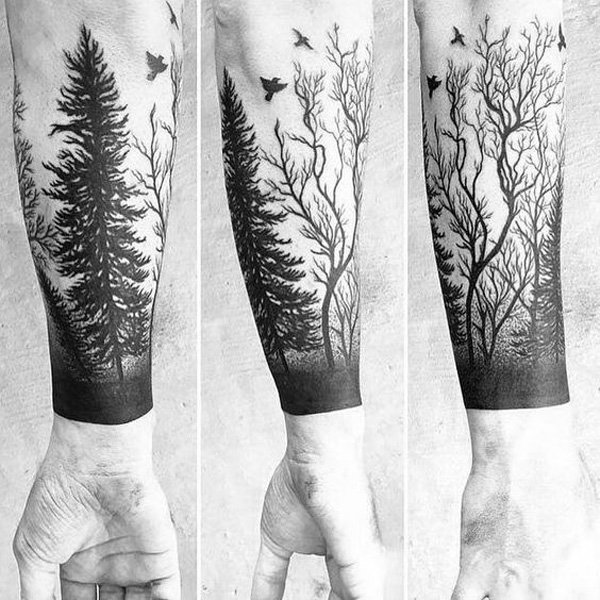 dashing forest tattoo on hand With Black ink For Man And Woman
