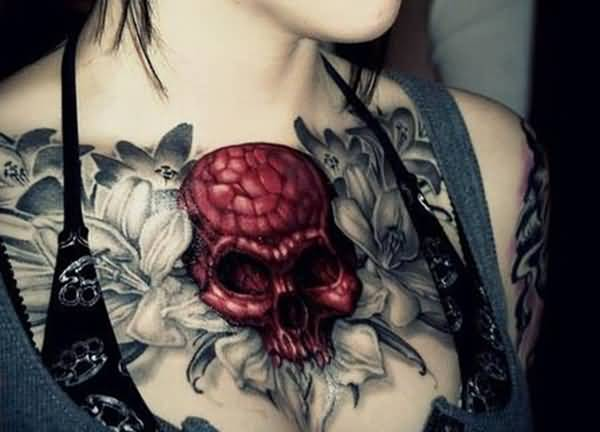 Dashing Skull And Flower Tattoo For Women On Chest On Back With Black Ink For Women