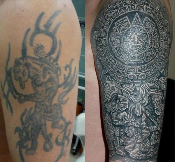 Eye Catching Cover Up Tattoo With Black Ink For Man And Woman