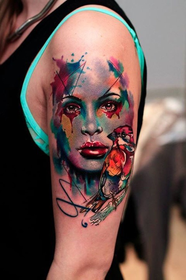 Eye Catching Watercolor Portrait With Colorful Ink For Man Woman