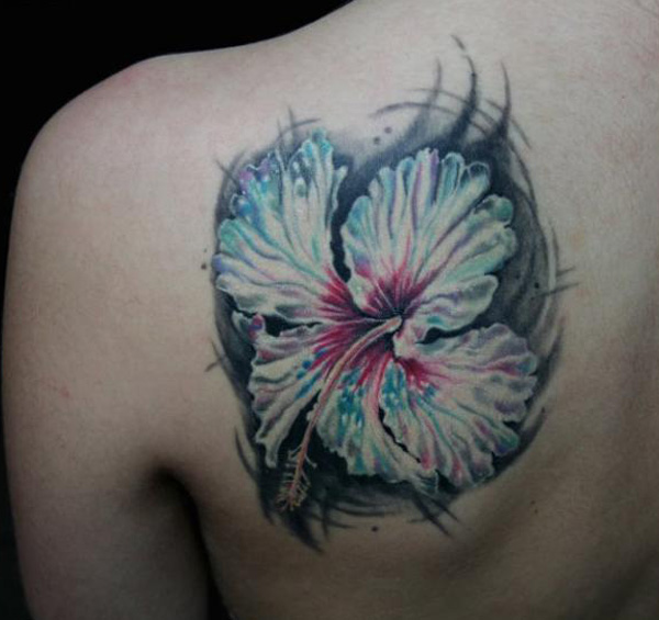 fabolous Hibiscus tattoo on back With colourful ink For Man And Woman