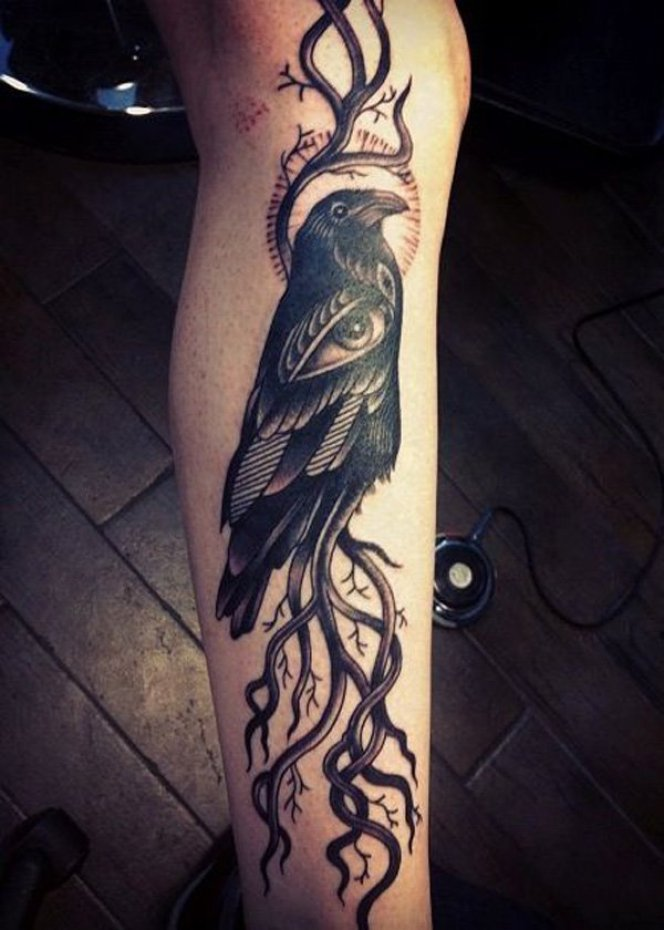 fabulous Raven Tattoo on leg on leg with Black ink For Man And Woman