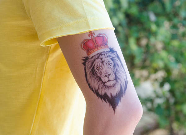 Fantastic Lion Temporary Tattoo On Arm For Man Woman