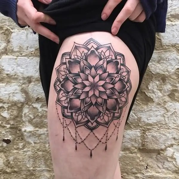 Fantastic Mandala Thigh Tattoo With Black Ink For Man Woman