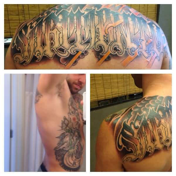 fantastic colorful ink ambigram font tattoo on back and chest for only boys