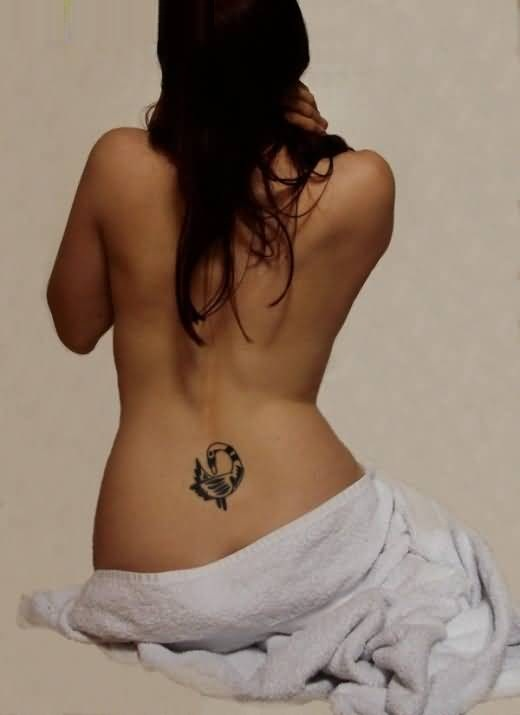Fantastic Gray Color Ink Sankofa Symbol Tattoo On Charming Back For Ladies