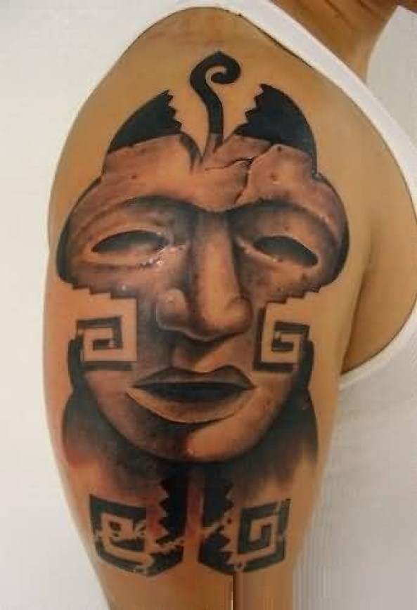 Fantastic Red And Black Color Ink Mask Tatto On Boy Shoulder For Men