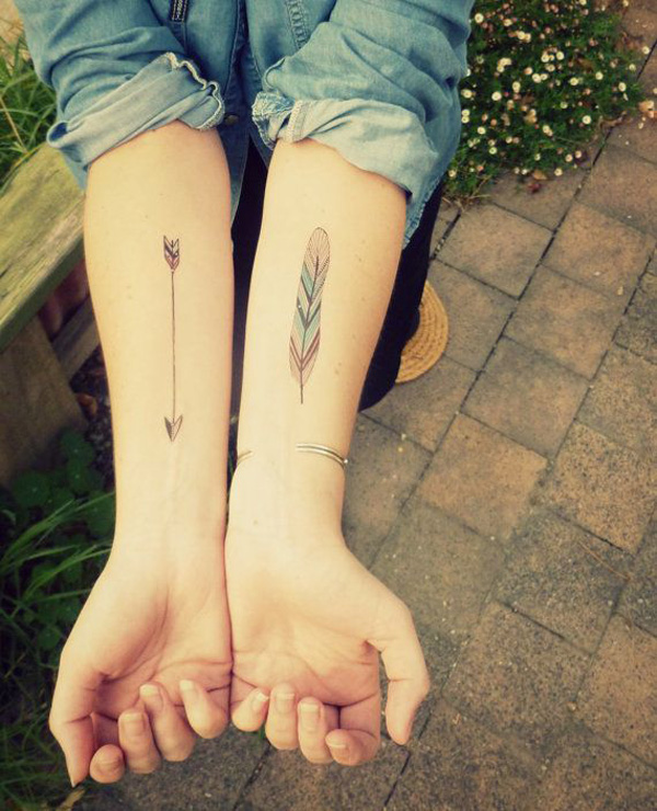 Fascinating Arrow Feather Temporary Tattoos For Man Woman