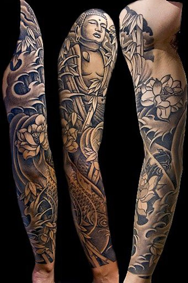 Fascinating Buddha And Fish Japanese Full Sleeve Tattoo With Colourful Ink For Man Woman