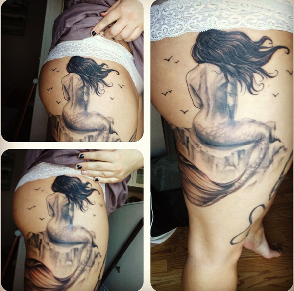 Fascinating Mermaid Tattoo For Girls On Leg With Black Ink For Woman