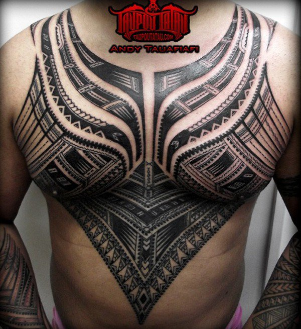 Fascinating Samoan Tattoo Art On Chest With Black Ink For Man Woman