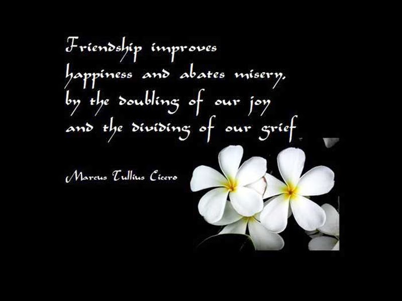 friendship inproves happiness and abates misery by the doubling of our joy and the dividing of our grief (mareus tullius eicero)