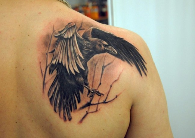 gorgeous Raven Back Tattoo on back with Black ink For Man And Woman