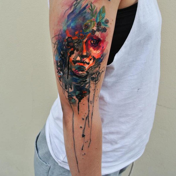 Great Colorful Watercolor Tattoo On Arm With Colorful Ink For Man Woman