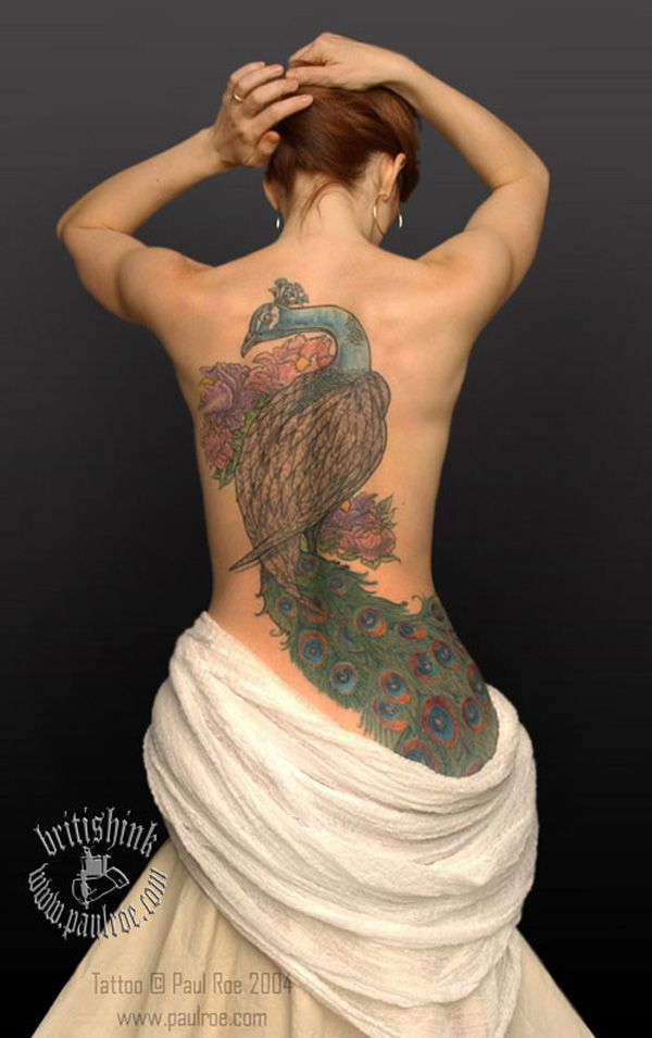 Great Peacock Tattoo For Women On Back