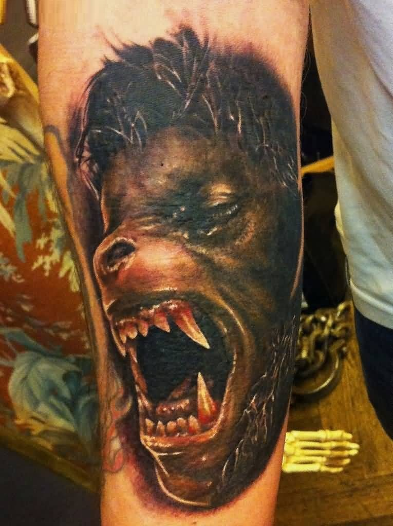 Great Angry Animal Tattoo Of Africa On Boy Body
