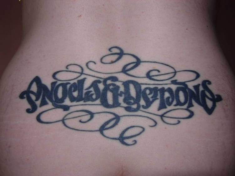 great black color ink ambigram tattoo on back for boys
