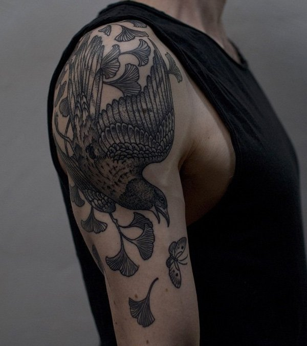 great ginkgo leaves and bird sleeve tattoo on shoulder With Black ink For Man And Woma