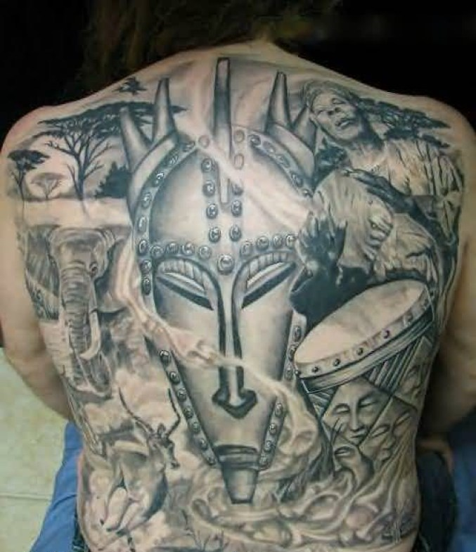 Horrible Gray Color Ink Mask Tattoo With African Culture For Man