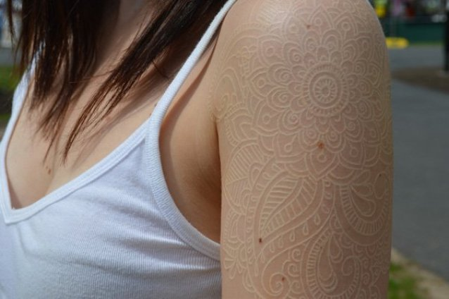 incredible White ink lace tattoo on half sleeve white ink For Man And Woman