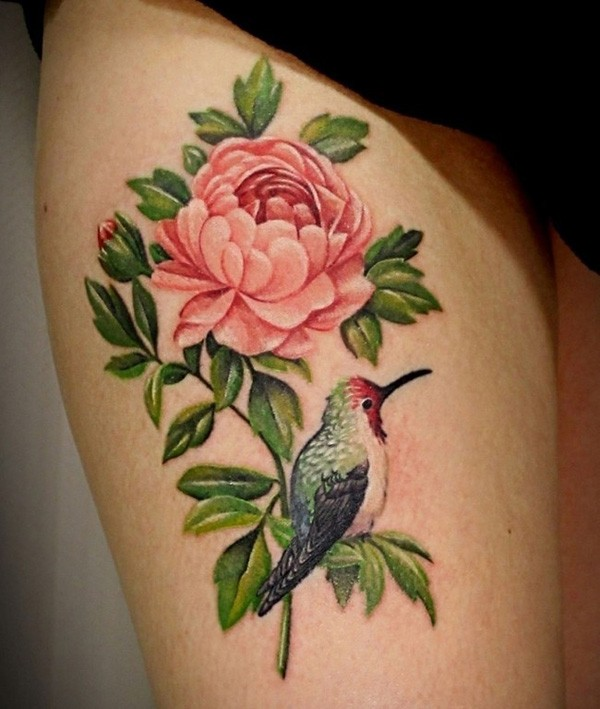 incredible Peony tattoo on thigh With colourful ink For Man And Woman