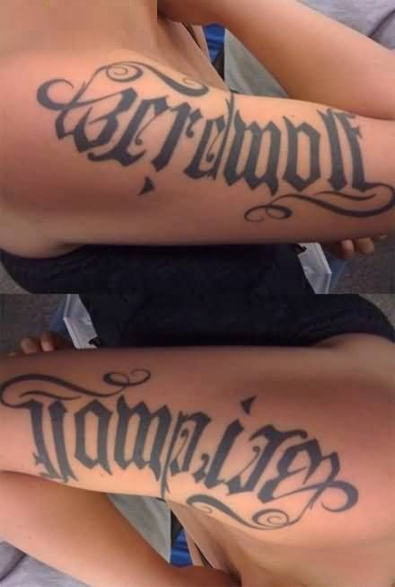 incredible gray color ink tattoo of ambigram on sleeve for girls