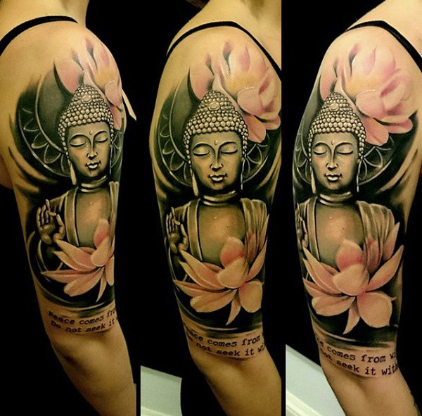 Inspirational Buddha Portrait And Louts Sleeve Tattoo With Black Ink For Woman Man