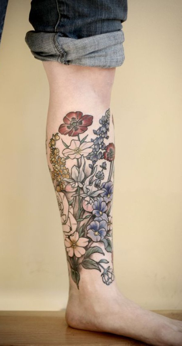 Inspirational Calf Tattoo With Colourful Ink For Man Woman