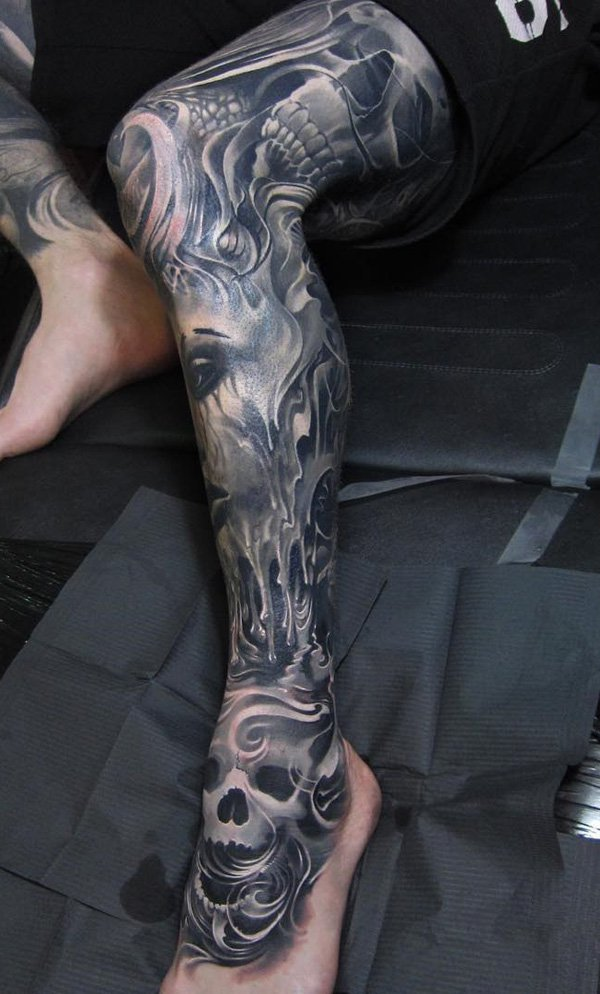 Inspirational Calf Tattoo With Black Ink For Man Woman