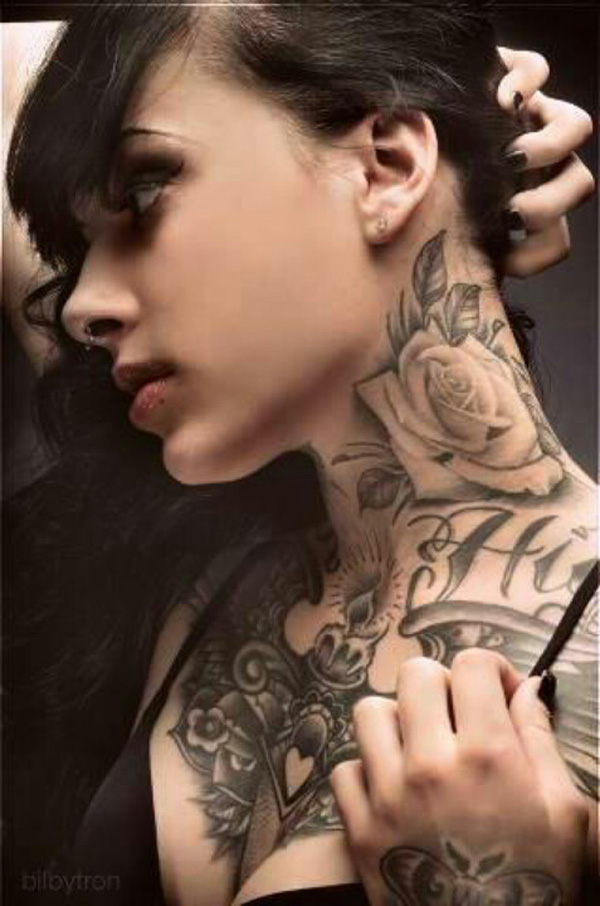 Inspirational Rose Tattoo On Neck On Back With Black Ink For Women