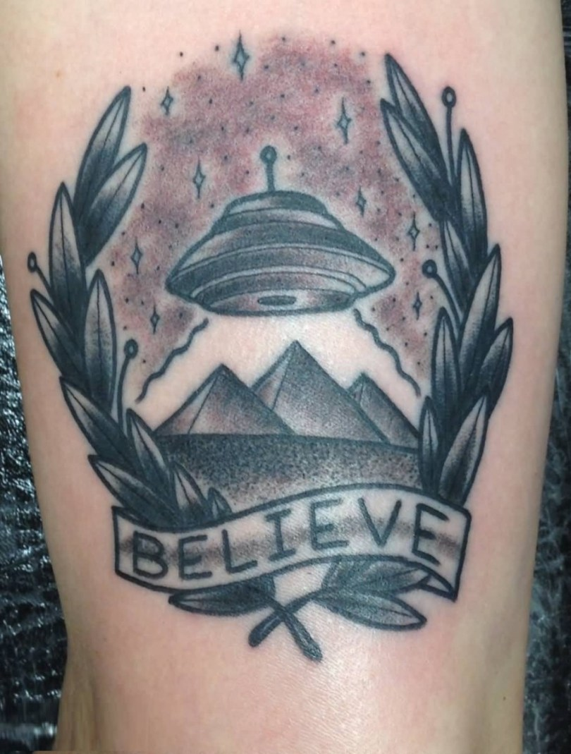 inspirational gray and red light color ink Ufo And Pyramid Tattoo On Sleeve for boys