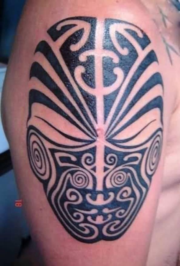 Inspirational Gray Color Ink Mask Tatto On Man Shoulder For Man