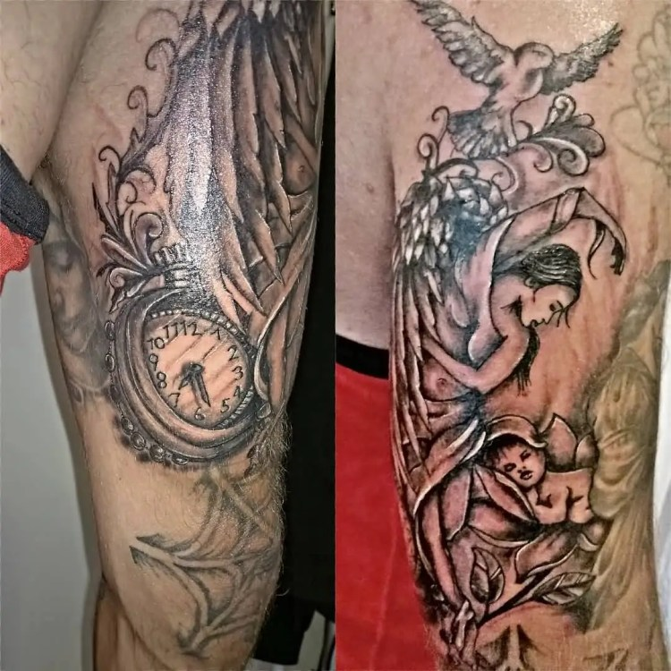 inspiring black and red light color ink angel tattoo on boy sleeve for boys made by exepert