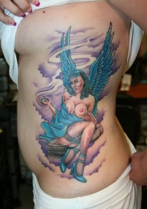 inspiring blue and red light color ink Angel Tattoos on girl 's ribs side made by expert