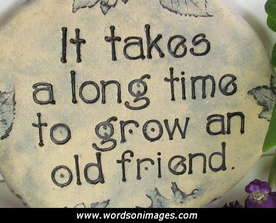 it takes a long tim to grow an old friend.