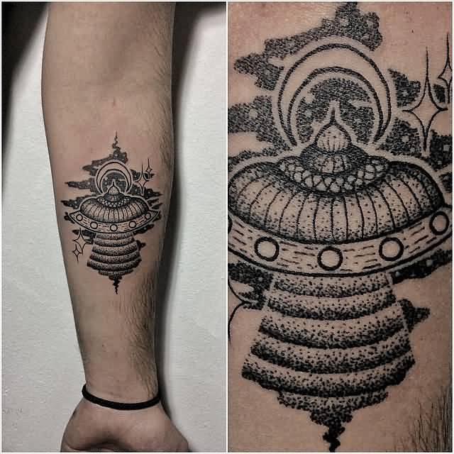 latest black color ink Ufo Tattoo On Sleeve for boys
