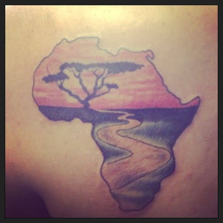 Latest Red And Black Colour African Lake Tattoo On Man Solder