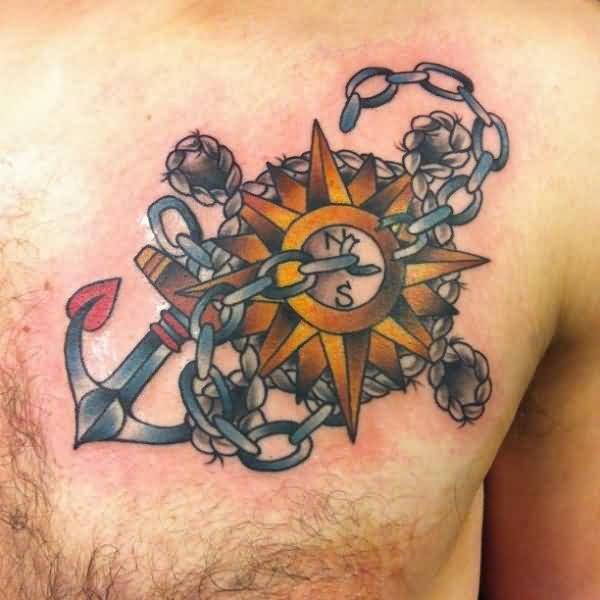 latest red and yellow color ink anchor tattoo with chain on boys chest