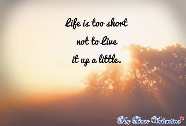 Life Is Too Short Not To Live It Up A Little