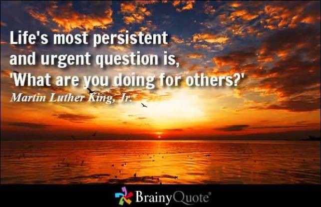 Lifes Most Persistent And Urgent Question Is What Are You Doing For Others Martin Luther King Jr
