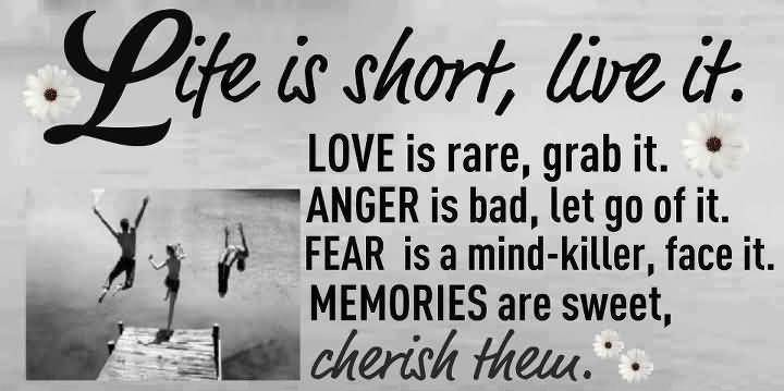 Lite Is Short Live It Love Is Rare Grab It Anger Is Bad Lt Do Of It Fear Is A Mind Killer Face It Memories Are Sweet Cherish Them