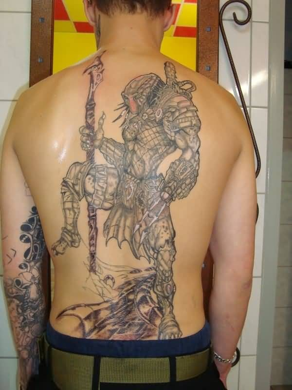 lovely gray color ink Predator Fighter Tattoo On Back made by expert