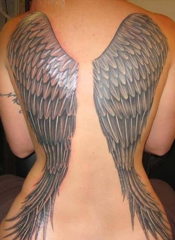 lovely gray color ink Angel Tattoos on girl 's back side made by expert artist for ladies